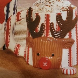 Reindeer Ticking Stripe Christmas Mugs